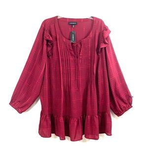 NEW Lane Bryant top 26/28 peplum hem maroon wine